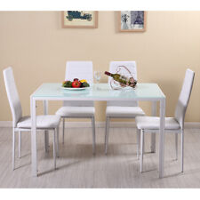 Modern Stunning White Glass Dining Table and 4 Padded Chairs Set Dining Room