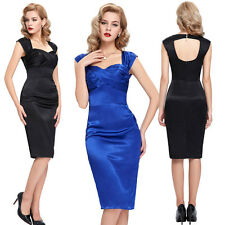 SEXY LADY VINTAGE 50s 60s STYLE BLACK/BLUE PENCIL WIGGLE STRETCH BODYCON DRESS