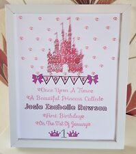 Personalised Framed Castle Baby First 1st Birthday Girl Handmade Gift