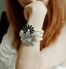 Fashion Jewelry Enamel Pearl Rhinestone Multilayer Stretch Flower Bracelets