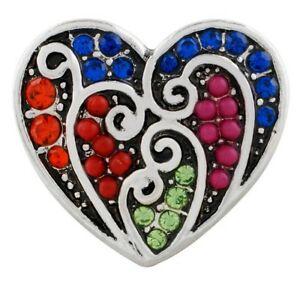 Blue Red Green Rhinestone Bead Heart Swirl 20mm Snap Charm For Ginger Snaps