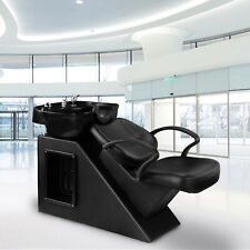 Backwash Chair Unit Shampoo Bowl Spa Sink Double Drain Hair Beauty Salon Station