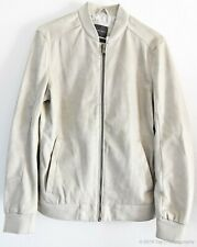 Zara Man Beige Faux Leather Full Zip Perf Bomber Jacket [431/358/802, Large]