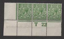 GV - N14(17) 1/2d Cobalt-green Control T22(p) strip x 3. Fine unmounted mint.