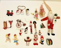VTG Lot Of 21 Santa Wooden Metal Christmas Holiday Ornaments Decor