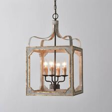 French Country 4-Light Square Lantern Metal& Wood Chandelier Lighting Pendant UL