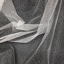 "Sparkle Glitter Tulle Fabric Wedding Decoration Craft Event 60"" - White"