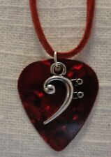 BASS CLEF CHARM GUITAR PICK NECKLACE-RED