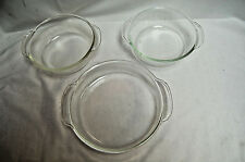 "3 = FIRE KING CLEAR ROUND GLASS DISHES (2 = 1-Quart & 1 = 8"" Baking Dish) #S7743"