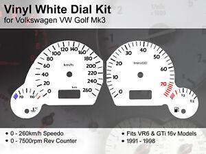 Volkswagen VW Golf Mk3 (1991 - 1998) - 260kmh VR6 / GTi - Vinyl White Dial Kit