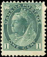 1898 Mint Canada F Scott #75 1c Queen Victoria Numeral Issue Stamp Hinged
