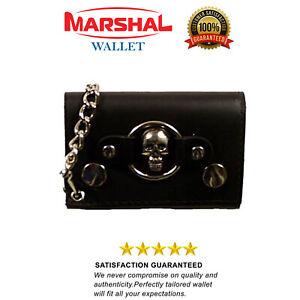 Skull Logo Genuine Leather Trifold Biker's Wallet ID Card Holder w/ Chain 1046-6
