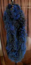 "Linda Richards Tibetan Lamb Fur 64"" Infinity Scarf – blue and black - SALE!"