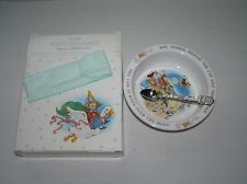Vintage 1984 Avon Baby's Keepsake Nursery Rhyme Metal Spoon & Stoneware Bowl Set