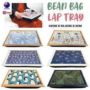 Portable Lap Tray w/ Bean Bag Cushion Laptop iPad Table Desk Pillow Wooden Frame