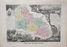 Département du Nord Pas-de-Calais - Carte géographie ancienne - 1849 - France