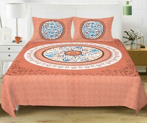 4 Color Indien Handmade Cotton Bedding Set Queen Bed Sheet with 2 Pillow Covers