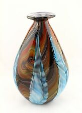 "New 14"" Hand Blown Glass Art Teardrop Vase Blue Black Red Feathers Decorative"
