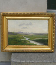 Antique Danish summer landscape with a stream and cows. 1880. Signed.