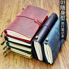 100% Cowhide Leather Cover Vintage Note Book Diary Journal Travel Notepad School