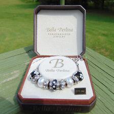 NEW Bella Perlina Deluxe Charm Bracelet & Crystal Bead Black & White Adjustable