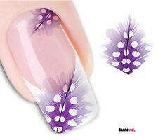 Nail Art Sticker Water Decals Transfer Stickers Purple Feathers (DX1580)