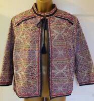M&S Collection Oriental Design Lined Open Front Bolero Jacket Size UK14
