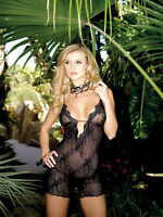 SALE BEAUTIFUL BLACK LACE LOW CUT MINI DRESS CLUBWEAR GLAMOUR LEG AVENUE
