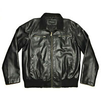 Vintage Mens GUESS Black Faux Leather Full Zip Motorcycle Moto Jacket Size Large