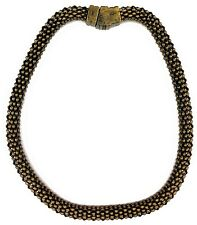 Brass Tone Choker Necklace Hollow 4-Sided Mesh Tube Chain Magnetic Closure