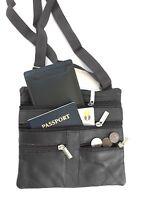 "Black Women's  Leather Cross Body Bag Satchel Messenger Bag 48"" Strap"