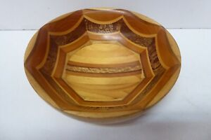 VINTAGE TURNED NZ TIMBER WOODEN BOWL SOVEREIGN WOODWARE HANDCRAFTED