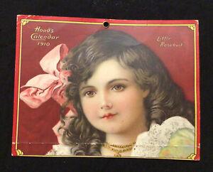 1910 Advertising Premium Calendar Hood's Family Medicines Lowell Little Rosebud