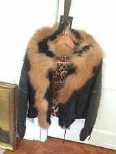 great leather jacket dawn goose  with  fur   Roberto Cavalli  Original 100%