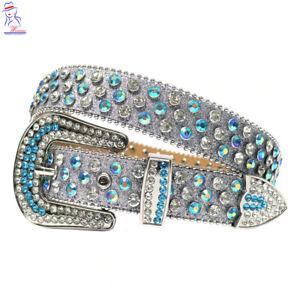 New Luxury Western Cowgirl Strap Leather Rhinestones Diamond Fashion Belt Medium