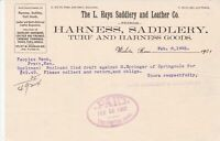 U.S. The L.Hays Saddlery and Leather Co. Wichita 1902 Logo Paid invoice Rf 45335