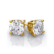 2 CARAT 14K SOLID YELLOW GOLD FN DIAMOND STUD SCREW BACK SOLITAIRE STUD EARRINGS