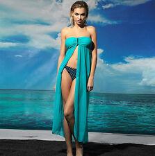 Aqua Strapless U Buckle Kaftan Sheer Cape Summer Beachwear Dress XS S 4 6 8