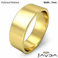 Wedding Band 7mm Plain 14k Yellow Gold Women Flat Pipe Cut Ring 6.2g 5-5.75
