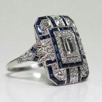 925 Silver Sapphire & White Topaz Women Jewelry Wedding Engagement Ring Sz 6-10