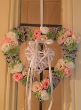 Wicker Door Wreath Hanging Decoration Wicker Heart Roses Daisy Flowers