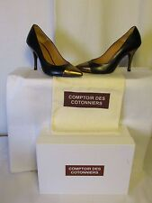 Court Shoes Refrigerated of the Cotton Leather Black and Gold 38