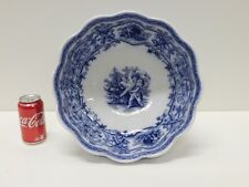 Antique Massive Flow Blue RUSTIC Staffordshire Transferware Furnivals Punchbowl