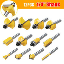 """12Pcs 1/4"""" Shank Carbide Router Bits Wood Cutter Trimming Engraving Carving Set"""