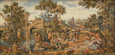 """LARGE 48"""" VINTAGE FABRIC TAPESTRY SCENIC ITALIAN LANDSCAPE FIGURES CANAL 4' X 2'"""
