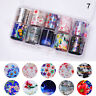 10 Rolls/Box Holographic Nail Foils Nail Art Stickers Flower Pattern Decals