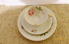 Vintage Tea Cup, Saucer, Side Plate Flower motif Gold rim marked Bavaria