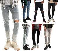 Mens Ripped Skinny Jeans Distressed Denim Skinny Biker Jeans Ripped Pants