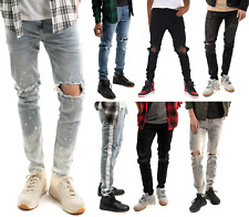 Mens Denim Ripped Skinny Fit Stretch Slim Fit Biker Pants Destroyed Jeans Ripped