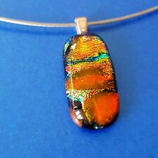 Petite Handmade Orange Dichroic Glass Pendant with Necklace OOAK Gift Unique